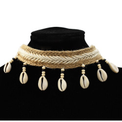 N-7258 Handmade Bohemian Cotton Woven Choker Necklace with Natural Sea Shell Pendant Summer Jewelry