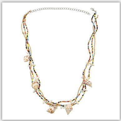 N-7259 Fashion Colorful Beads Acrylic Stone Conch Pendant  Statement  Necklaces for Women Boho Party Beach Jewelry