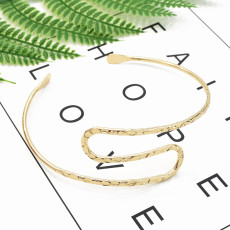 B-0979 New Fashion Indian Retro Trend Silver Gold Metal Adjustable Double Open End Spiral pattern Bracelet Bangle Charming  Armlet