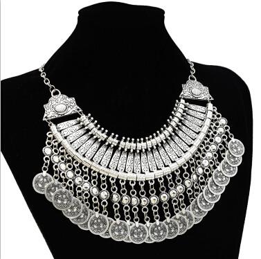 N-5163 Gypsy Vintage Silver Beach Choker Coin Tassel Bib Statement Necklace For Women Festival Jewelry