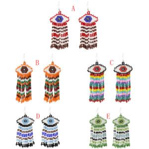 E-5398 Fashion Devil's Eye Small Beads Tassel Summer Style Drop Earrings Female Wedding Party Jewelry