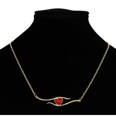 N-7262 Simple Gold Chain Black Red Enamel Heart Pendant Necklaces for Women Girl Party Jewelry