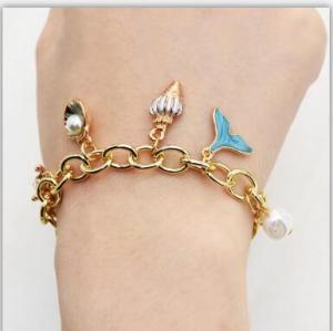 B-0980 Fashion Korean Gold Chain Geometric  Pearl  Pendant  Bracelet For Women Party  jewelry.