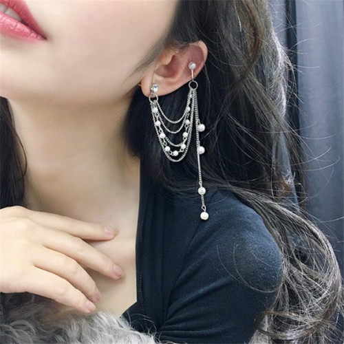 E-5396 Elegant Multi-layer Gold and Silver Metal Pearl Pendant Earrings Female Party Jewelry