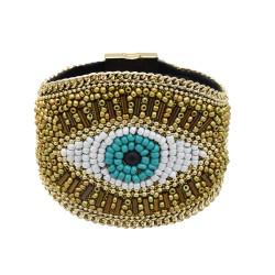 B-0982 Devil's Eye Bracelet Bohemian Rice Bead Bracelet Shiny Wide Jewelry Magnet Link Easy to Wear