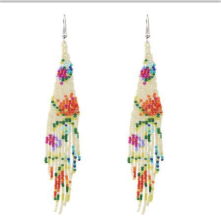 E-5402 Fashion Bohemian  Small Resin  Beads Tassel Summer Style Drop Earrings Female Wedding Party Jewelry