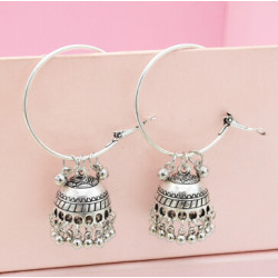 E-5401 Indian Ethnic Silver Gold Bells Circle Hoop Earrings With Birdcage For Women Festival Party Jewelry