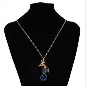 N-7264 New Fashion Gold Chain Rhinestone Hippocampus Pendant  Unique Necklace For Women Party Jewelry