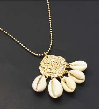 N-7265 Women Gold Link Chain Natural Shell Pendant Necklace Boho Summer Beach Party Jewelry