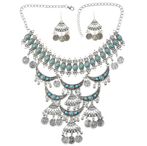 N-7268 3 color Women Jewelry Sets Imitation Pearl Maxi Necklace Earring Set Boho Vintage Jewelry