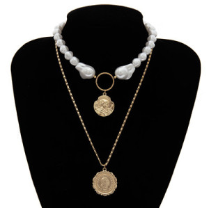 N-7269 FASHION DOUBLE GOLD ALLOY PEARL NECKLACE COIN PENDANT LADIES PARTY JEWELRY