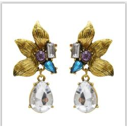 E-5404 Vintage Gold Metal  Flower Crystal  Pendant  Drop Earrings for Women Party Jewelry