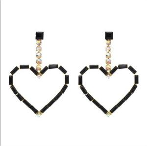 E-5407 New Fashion Acrylic   Rhinestone Heart Pendant  Drop Earrings For Women Party Jewelry