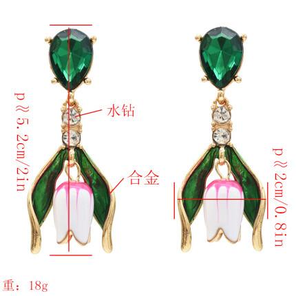 E-5406 Elegant Flower Shape Crystal Drop Earrings for Women Bridal Wedding Party Summer Jewelry