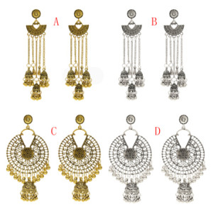 E-5408 Indian Vintage Silver Gold Long Tassel Statement Jhumka Earrings With Birdcage For Women Party Ethnic Jewelry