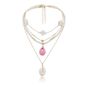 N-7274 Fashion beaded transparent rough alloy necklace shell pendant ladies party jewelry