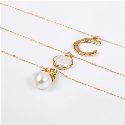 N-7273 Letter Pearl Gold Multi-layer Chain Necklace for Woman