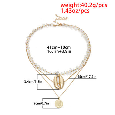 N-7275 MULTILAYER FASHIONABLE TRANSPARENT ROUGH STONE ALLOY NECKLACE COIN PENDANT PARTY JEWELRY