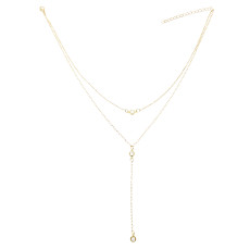 N-7277 Fashion Double Layers Gold  Silver Long Tassel  Pendant   Necklaces for Women Party Jewelry