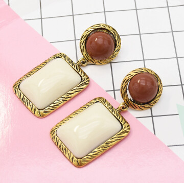 E-5413 2 Colors Contrast Square Acrylic Fashion Dangle Earrings For Women Wedding Party Jewelry