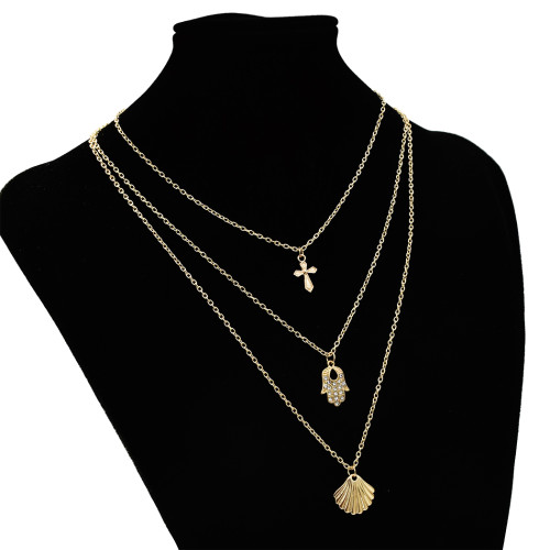 N-7278 Fashion Gold Metal Sea Shell Pendant Necklaces Multilayer Link Chains Necklace For Women Summer Jewelry