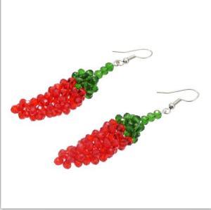 E-5414 Cute Acrylic  Beads  Watermelon Chili   Drop Earrings for Women  Party Summer Jewelry