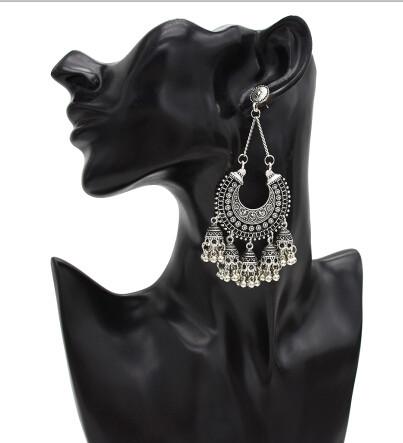 E-5416 Indian Big Gold Silver Bells Long Tassel Jhumka Earrings For Women Wedding Party Jewelry