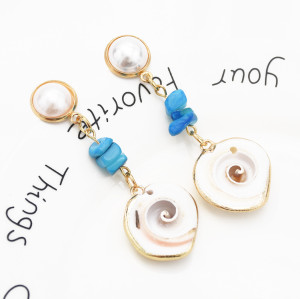 E-5417 Bohemian Metal conch Pearl Alloy Shell Pendant Drop Hoop Earrings for Women Summer Beach Jewelry