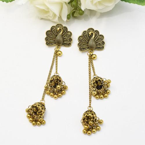 E-5422 Indian Big Flower Gold Silver Bells Long Tassel Jhumka Earrings For Women Wedding Party Jewelry
