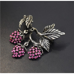 P-0442 2 Color Women Silver Gold Alloy Flower Rhinestone Brooch Pins Shirt Dress Clothes Fashion Accessories