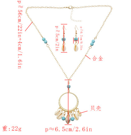 N-7284 Bohemian Natural Sea Shell Pendant Necklaces Earrings Jewelry Sets for Women Summer Beach Gift