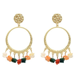E-5427 5 Colors Fashion Gold Metal Colorful Stone Beaded Earrings for Women Wedding Party Statement Jewelry