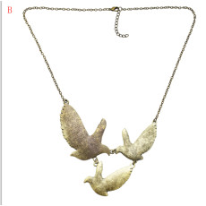 N-3351 N-3376 2 Styles Vintage Silver Metal Birds Coin Shape Bib Statement Necklaces for Women Boho Party Jewelry