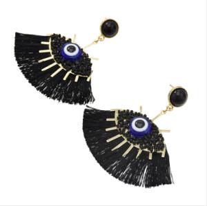 E-5428 Bohemian Handmade Beads Big Eye Tassel Drop Earrings For Women Wedding Trendy Girls Party Gift Statement Earrings