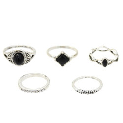 R-1417  5 Styles Vintage Silver Metal Acrylic Finger Ring Sets for Women Boho Wedding Party Jewelry