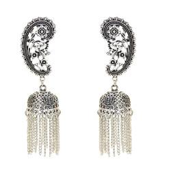 E-5433 Vintage  Palace Silver Zamak Hollow Indian Bells Tassel Earrings For Women Jewellry