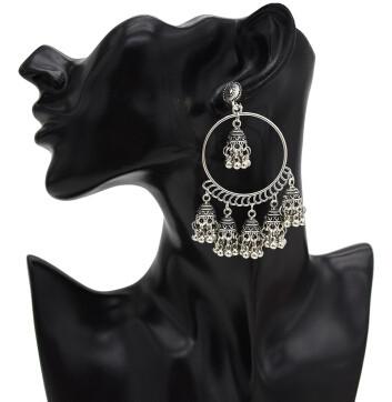 E-5434 Vintage Palace Silver Zamak Indian Bells Tassel Earrings With Birdcage For Women Jewellry