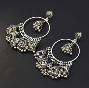 E-5434 Vintage Palace Silver Zamak Indian Bells Tassel Earrings With Birdcage For Women Jewellry