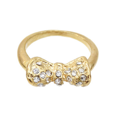 R-0158 2-COLOUR FASHION BOW DIAMOND CRYSTAL RING WEDDING RING BRIDE