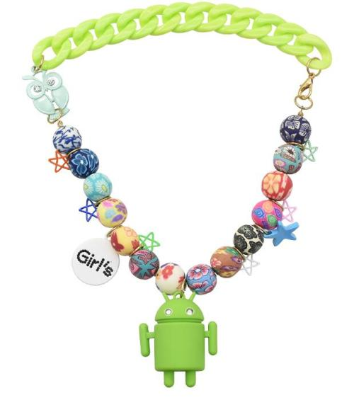 N-3871 Robot Beaded Chain Necklace Acrylic Owl Star Charm Able To Vocalize And Illuminate Good Gift For Children