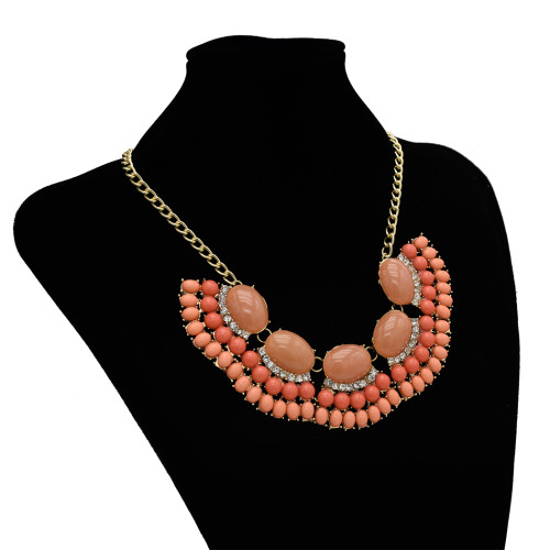 N-3001 Multicolor Stylish Geometric Crystal Pendant Necklace Acrylic Adjustable Women's Jewelry