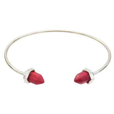 B-0621 Fashion Silver Gold Metal Acrylic Stone Open Cuff Bangles for Women Party Jewelry