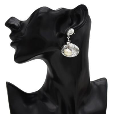 E-5435 Vintage Silver Gold Bronze Metal Shell Pearl Drop Dangle Earrings for Women Beach Party Jewelry