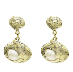 E-5435 Vintage Silver Gold Bronze Metal Shell Pearl Drop Dangle Earrings for Women Beach Party Jewelry