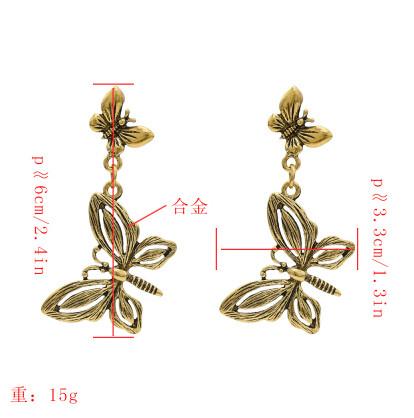 E-5436 Unique Gypsy Antique Gold Silver Metal Long Fringe Drop Earrings For Women Birthday Animal Bee Flower Shape Statement Earring