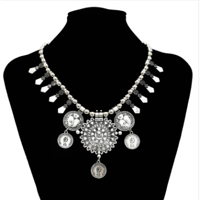 N-5629 Vintage Gold Silver Coin Beaded Statement Necklaces for Women Party Jewelry