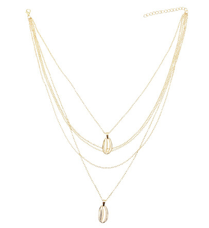 N-7286 Fashion Multi-layers Gold Chain Shell Pendant Necklaces for Women Boho Summer Beach Jewelry