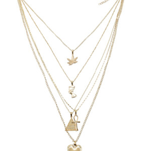 N-7288 2 Styles Women Gold Chain Multilayers Leaf Cross Heart Egyptian Pharaoh Pendant Necklaces Party Jewelry