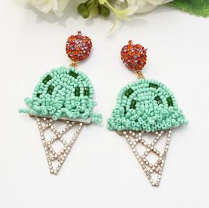 E-5442 Rice Beads Ice Cream Earrings Rhinestones Apple Pendant Earrings Summer Beach Party Big Earrings