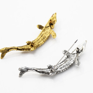P-0443 Vintage Gold Silver Metal Fish Brooches for Women Men Dress Suit Fashion Party Accessories